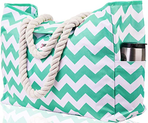 Beach Bag XXL (HUGE). 100% Waterproof. L22'xH15'xW6'. Rope Handles, Top Magnet Clasp, Two Outside Pockets. Turquoise Green Shoulder Beach Tote has...