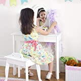 Guidecraft Classic White Vanity and Stool Set: Kids' Wooden Table with 3 Mirrors, Seat and Makeup Drawer - Children's Dress Up Furniture