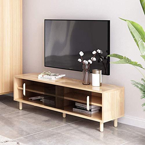 Console de rangement pour meuble TV avec porte d'armoire coulissante en verre trempé Console multimédia en bois pour salon ou bureau Meuble TV Console