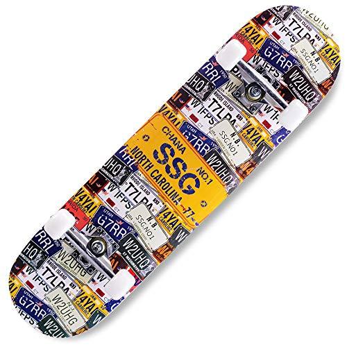 COCKE Skateboard Komplett, Board 79X20cm Holzboard ABEC-7 Kugellager 31 Zoll 8-Lagigem Ahornholz, 85A Rollen Für Anfänger Kinder Jugendliche Und Erwachsene,d
