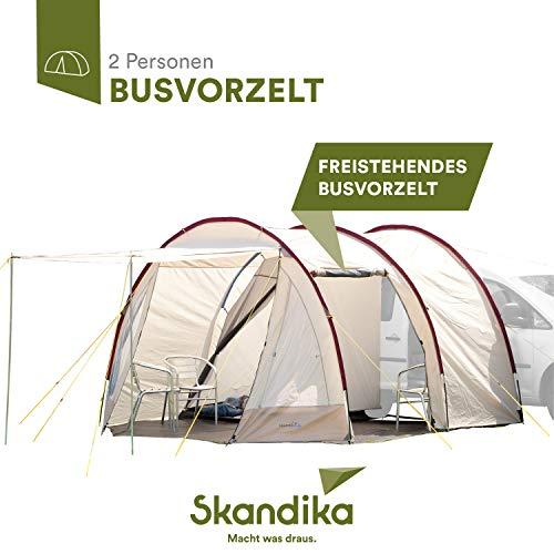 Skandika Camper Tramp - Bustent tunneltent- Vrijstaand - 2 personen - 370 x 320 cm - Zand/Rood