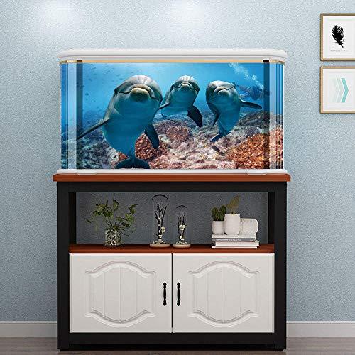 YUXAN 3D Sticker Mural Creative Fish Tank Autocollant Pvc Dauphin Famille Aquarium Salle De Bains Décoration De La Maison Art Mural-50X80 Cm