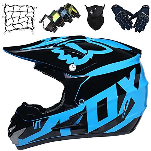 Casco Motocross, Casco Carreras MTB de Cara Completa para Niños, Casco de Moto para Adultos y Niños con Gafas/Guantes/Máscaras/Red Elástica - Aprobado DOT/ECE - con Diseño Fox - Negro