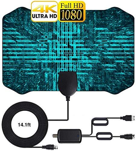 Antenne TV Intérieur Puissante Antenne 2020 Nouvelle 1080P HD TNT Amplifiée 120 Miles /200 km avec 4m Amplificateur Cable Coaxial Smart TV VHF UHF