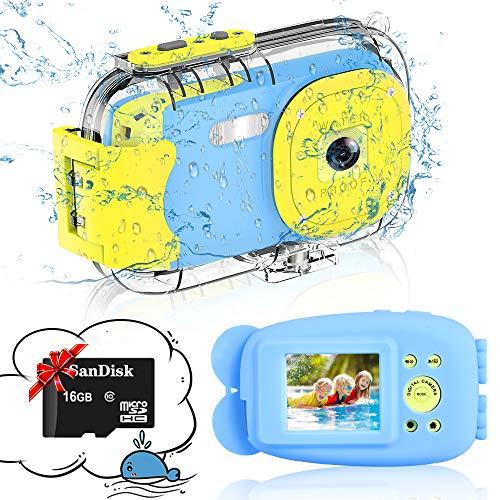 Cámara para Niños, DIWUER 1080P / 8MP Cámara Impermeable para Niños, Cámara Digital de 2 Pulgadas con Tarjeta SD de 16GB...