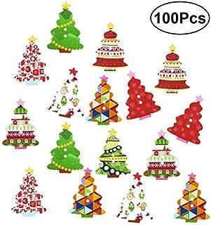 Botões de madeira coloridos ULTNICE para costura artesanal 100 peças (cor aleatória)