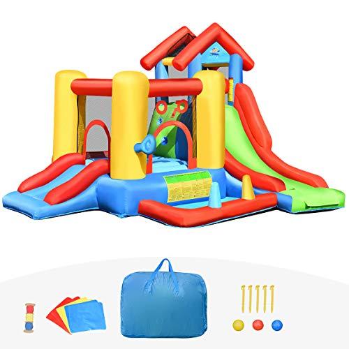Goplus 7 in 1 Castello Gonfiabile per Bambini 3-10 Anni con 30 Palline, Giocattolo Gonfiabile Trampolino per Parco e Giardino, capacità di Peso 135 kg per 5 Persone (300x360x235cm)