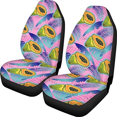 Big Incisor Bikini Papaya Pattern Fundas para Asientos Delanteros de automvil Juego de 2 Protectores de Fundas de Asiento de Cubo de polister Ultra Suave Ajuste Universal Usado Four Seasons