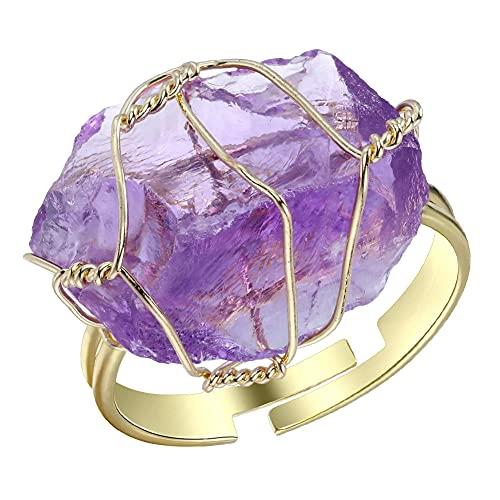 Nesloonp Amatista cruda Anillo 1pcs Joyería de Anillo Ajustable de Piedras Preciosas de Cristal Irregular Envuelto en Alambre de Cobre