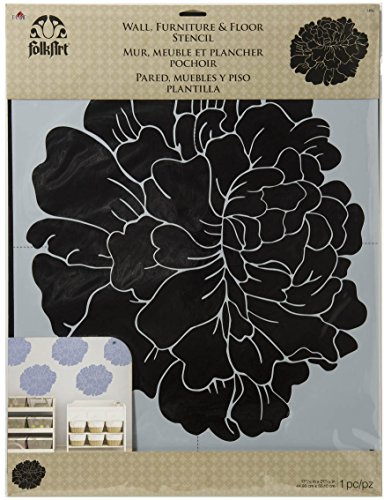 Plaid Folkart Home Decor pioenroos muur sjabloon, synthetisch materiaal, 54,6 x 44,5 x 0,1 cm