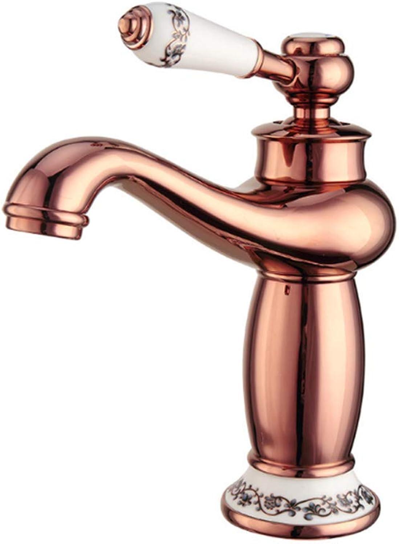 CTREKE Becken Wasserhahn Spüle Mischer Bad Wasserhahn hei und kalt RoséGold Bad A