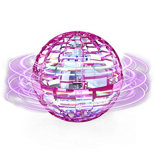 FLYNOVA PRO Fiegender Spielzeug, Handgesteuerter Mini Drohne, Fliegender Spinner mit 360 ° rotierenden LED-Leuchten für Kinder Erwachsene Innen im Freien (Rosa)