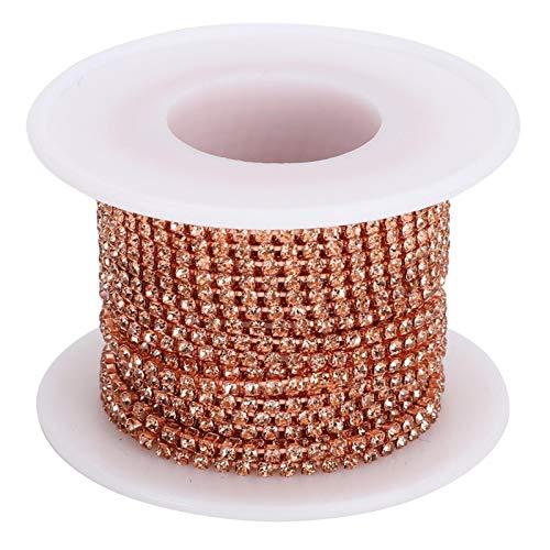 Pssopp 10 Yardas Cadena de Garra de Recorte Cadena de Diamantes de imitación SS6 Rollo de Hilo de Cuentas de Cristal con Fondo Plateado o Dorado para Manualidades y Decoraciones de Bricolaje(#1)