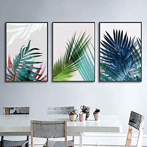 Pintura sin Marco Acuarela Hoja Verde fábrica de Arte de Pared Estilo nórdico Pintura Decorativa Moderna decoración del hogarZGQ2057 50X70cmx3