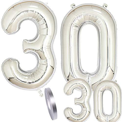 cholinchin Globos Número 30 Cumpleaños XXL Plata - Globo de lámina Gigante en 2 tamaños 40