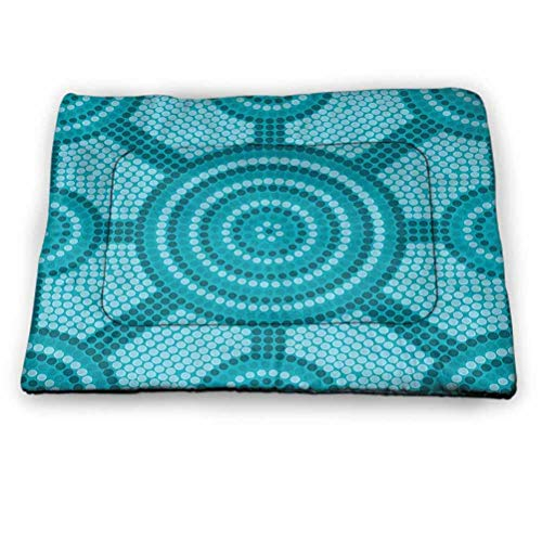 prunushome Dog Crate Bed Pet Mat Teal Decor Pet Playing Resting Bed Abstract Aboriginal Dot Painting Ancient Native Cultural Art in Australia for Outdoor, Car Seats, Beds in Summer Teal (21