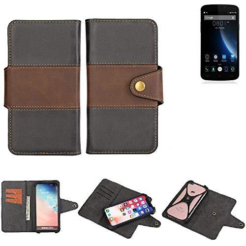 K-S-Trade® Handy-Hülle Schutz-Hülle Bookstyle Wallet-Case Für -Doogee X6S- Bumper R&umschutz Schwarz-braun 1x