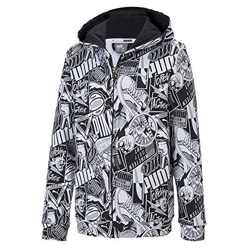 Puma Alpha AOP Hooded Jacket TR B Sudadera, Unisex niños, Black, 176