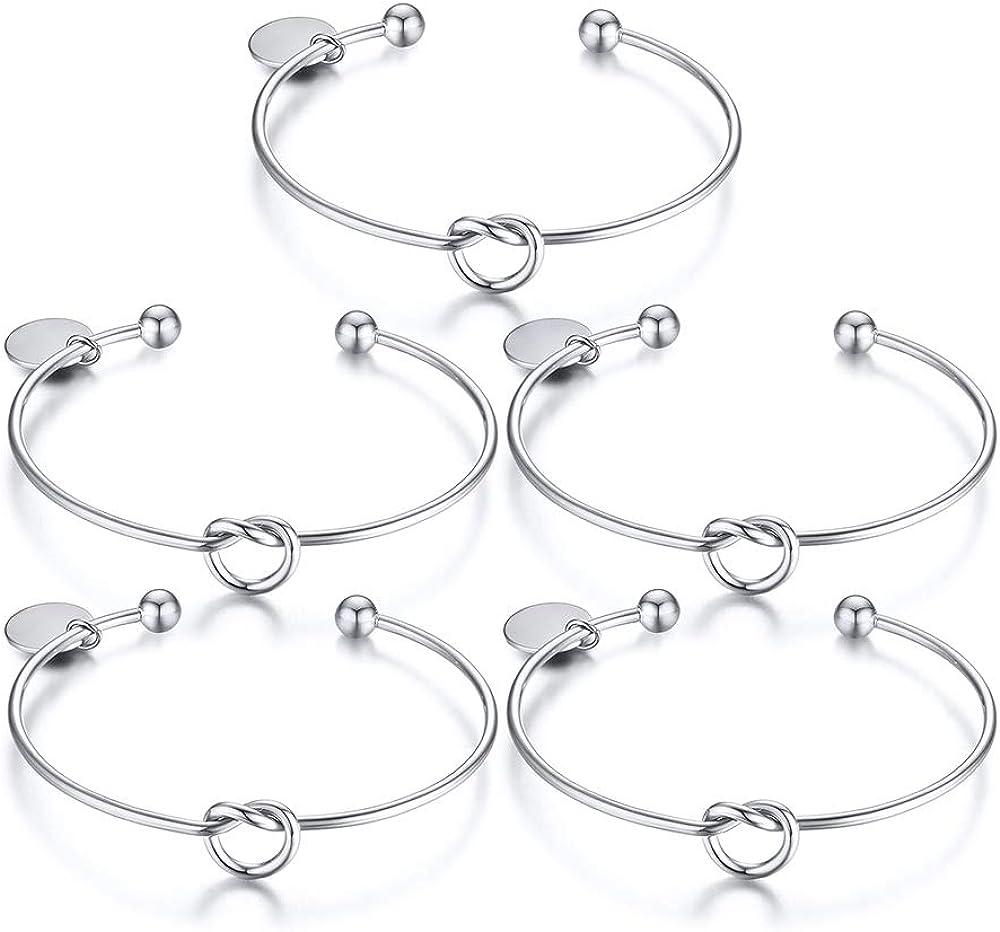 VNOX Customize Friendship Bridesmaid Gift Jewelry Set of 2,3,4,5 Love Knot Bangle Bracelet Cuff Stretch Charm Bracelet