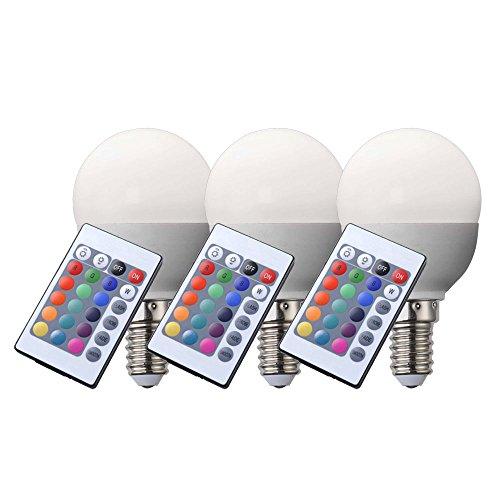 3er Set RGB LED E14 Leuchtmittel 4 Watt Glüh Birne Lampe dimmbar Globo 106750