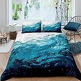 Castle Fairy 3D Blue Water Theme Duvet Cover King Ocean Surface Bedding Sets Soft Microfiber Warmly 3 Pieces Comforter Sets(1 Duvet Cover 2 Pillow Cases)
