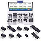 Glarks 50Pcs 10 Types Integrated Circuit Chip IC Chips Assortment Kit, opamp, Single Precision Timer, pwm, Including LM324 LM358 LM386 LM393 UA741 NE5532 NE555 PC817 ULN2003 ULN2803