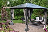 Kozyard 10ftx12ft' Polycarbonate Top Aluminum Permanent Gazebo with a Mosquito Net and Privacy Curtain (Edward 10ftx12ft)