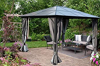 Kozyard 10ftx12ft  Polycarbonate Top Aluminum Permanent Gazebo with a Mosquito Net and Privacy Curtain  Edward 10ftx12ft