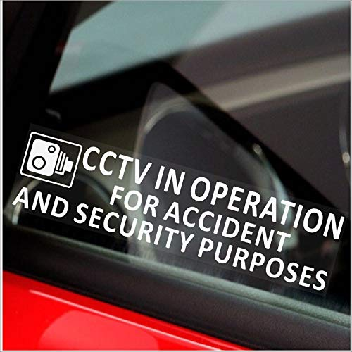 Platina Plaats 2 x 200x50mm-Window-CCTV In bedrijf voor ongevallen en veiligheid Doel Window Sticker-CCTV Sign-Car, Van,Vrachtwagen, Vrachtwagen, Taxi, Bus,Mini Cab,Minicab-Go Pro,Dashcam