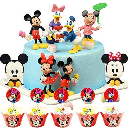 Mini Juego de Figuras,Mickey Cake Topper,Mini Juego de Figuras Niños Mini Juguetes Baby Shower Fiesta de Cumpleaños Pastel Decoración Suministros 32 piezas