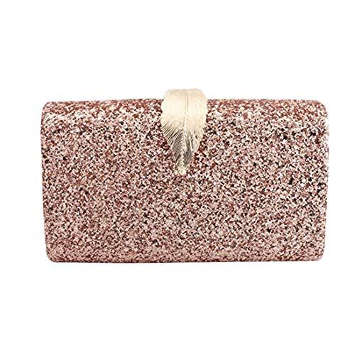 Bolso de embrague para mujer, bolso de noche con purpurina, rosa, talla única
