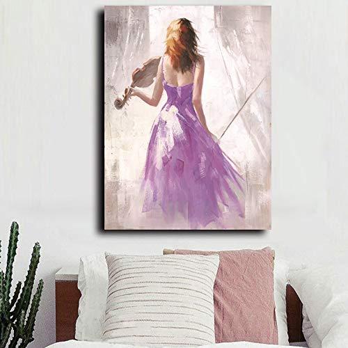 wZUN Colorido Ballet música Chica Lienzo Arte impresión Pintura Personaje Cartel Pared Imagen Hermosa Chica 60x80 Sin Marco