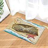 FEN&G Conchiglia di Stelle Marine in Legno X Coltello da Spiaggia Decorazione Pavimento Tappeto per Bagno per Bambini Tappetino per WC 40X60CM Accessori per Bagno