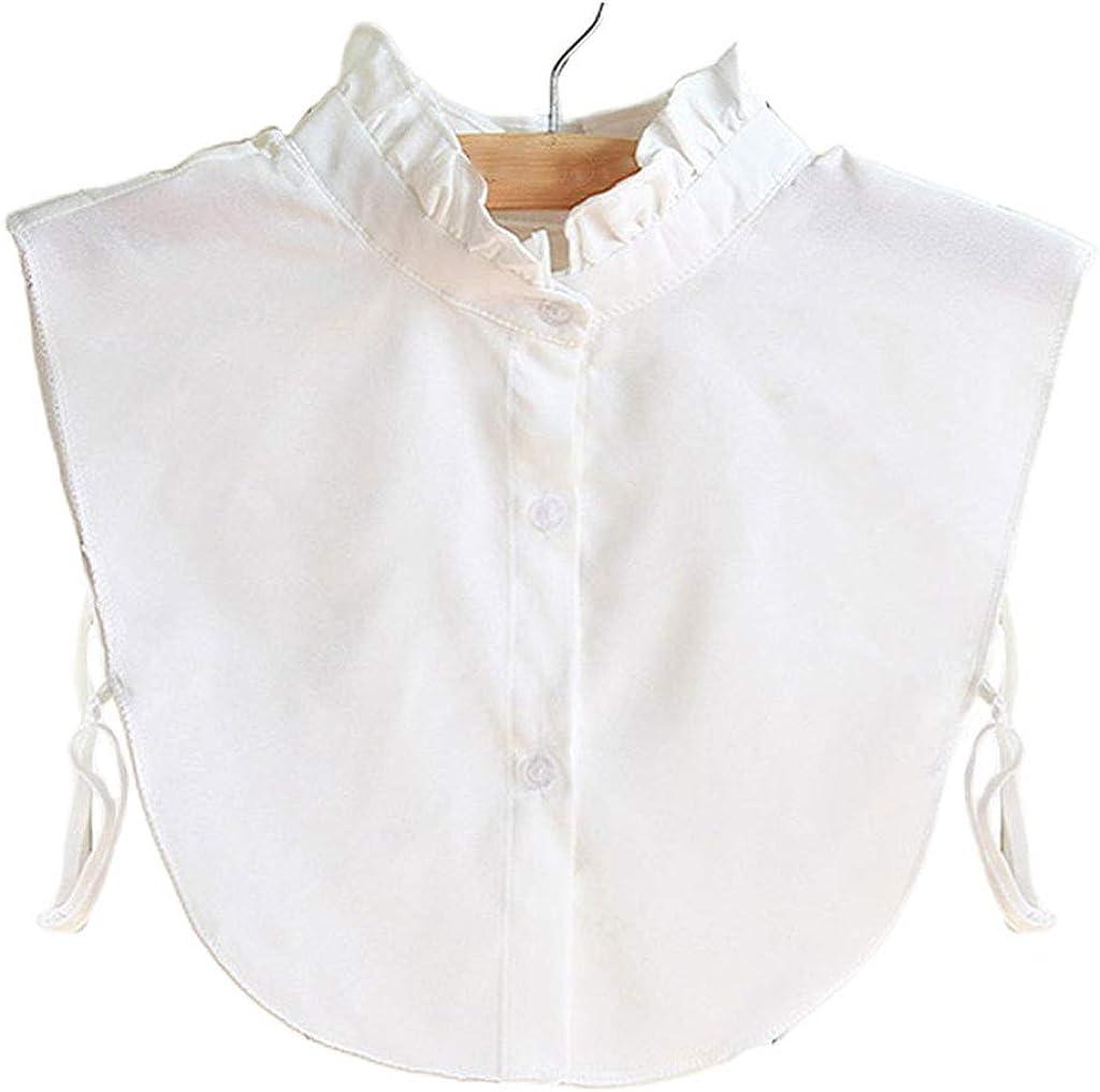 YOUSIKE Detachable Blouse, Korean Women Ruffles Chiffon White Fake Collar Curved Hem Detachable Dickey Half Shirt Blouse Autumn Sweater Decorative Accessory