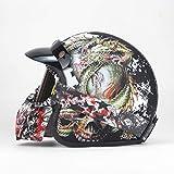 Dgtyui Black adult open half leather helmet motorcycle helmet vintage motorcycle helmet available year-round, removable brim - L Matte Black 2 X XL