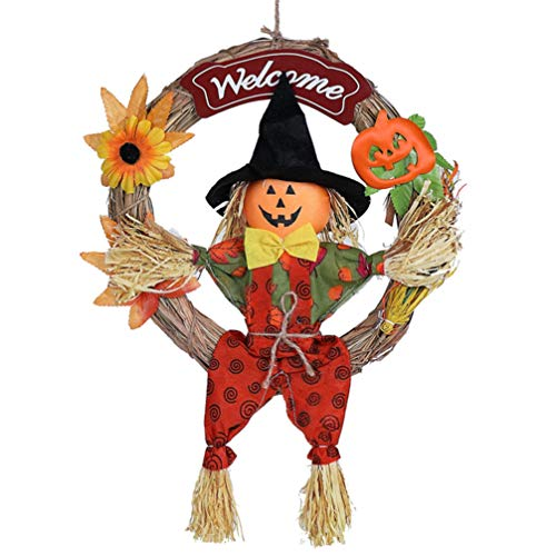 Amosfun Witch Halloween Wreath Halloween Front Door Window Hanging Welcome Decorations
