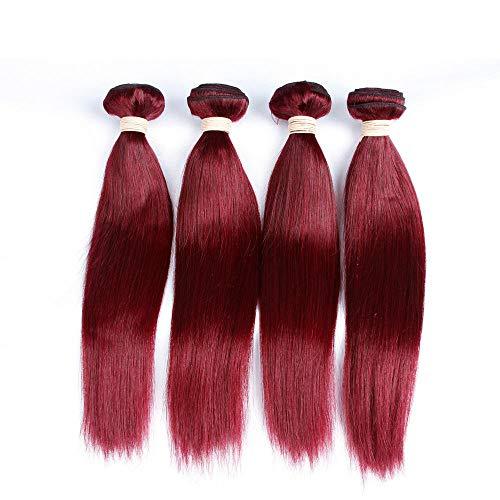 WIGU Paquetes de cabello humano real de onda recta rojo vino 28 pulgadas Sin procesar Cabezal liso de la armadura del pelo humano de Malasia 100% Real Cabello humano Extensión recta del pelo de la Vi