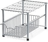 SimpleHouseware Stackable Under Sink Cabinet Sliding Basket Organizer Drawer, Chrome
