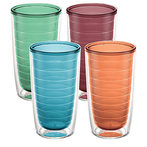 Tervis Clear & Colorful Insulated Tumbler, 16oz - 4 Pack - Boxed, Assorted