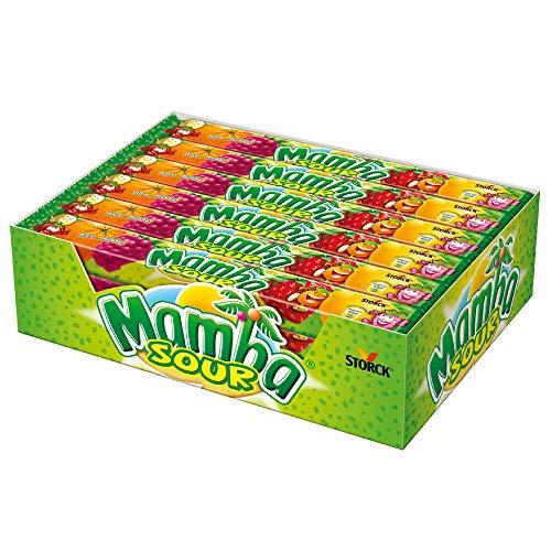 Mamba Kaubonbon Sauer – Fruchtig-saurer Süssigkeiten Mix – Fröhliche Bonbons zum Naschen für dieganze Familie – (24 x 4er Stangen)