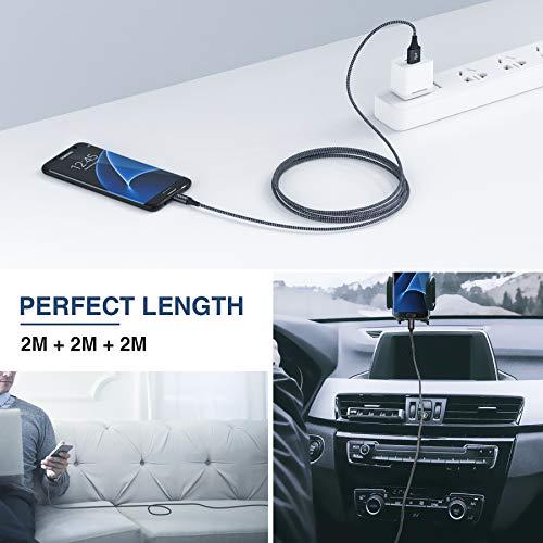 RAVIAD Micro USB Kabel, [3Pack 2M] Nylon Micro USB Ladekabel Android Schnellladekabel für Samsung Galaxy S7 Edge/S7/S6/J3/J7/Note 5, Huawei, Xiaomi, Wiko, Sony, Nexus, Nokia, Kindle, Echo Dot