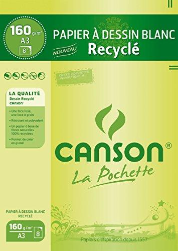Canson Pochette Papier à dessin A3 29,7 x 42 cm 8 feuilles Blanc