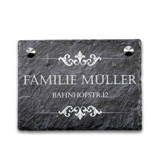 Kreative Feder Ornament Schiefertafel Türschild mit Wunschtext | personalisiertes Namensschild | Einzugsgeschenk (Anthrazit)
