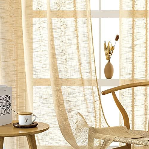 CUTEWIND Cortina de aspecto de lino, marrón, 2 unidades, voile, para salón, moderna, con ojales, semitransparente, para ventanas grandes, 245 x 140 cm