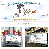 Banner Baby mit Storch als Geschenk zur Geburt » Der Storchenexpress war da › Herzlich willkommen zu Hause Mama und Kind › 160 cm breit › inkl. Ösen › Made in Germany
