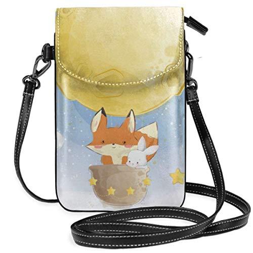 Kleine Crossbody-Taschen, Handy-Geldbörse, süßer Fuchs mit Mond, Luftballon-Druck, mit Kreditkartenfächern