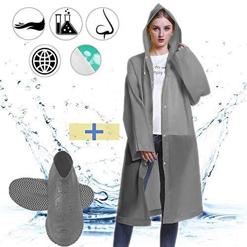 YIKEF 1 Regenponcho + 1 Silikon Überschuhe Regenmantel Wasserdicht, Regenschuhe Überschuhe, Tragbarer Regenmantel Wiederverwendba Atmungsaktiv Regenbekleidung (L Männer)