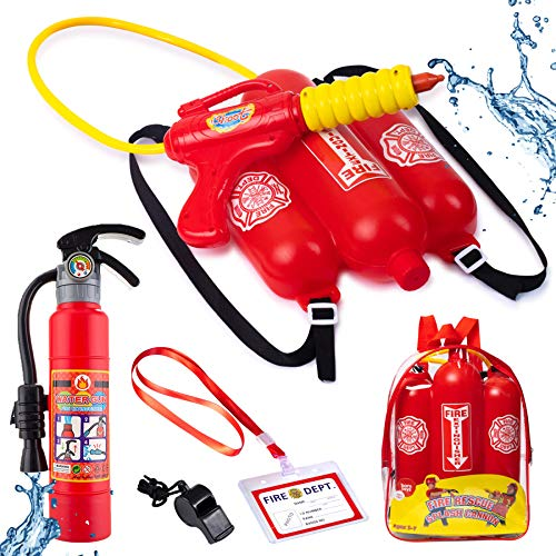 Born Toys Water Gun for Kids Set That Includes Backpack Water Gun, Toy Fire Extinguisher - Use as Squirt Gun, Water Shooter, Water Blaster Soaker Gun - Great Fireman Toys for Fireman Costume for Kids