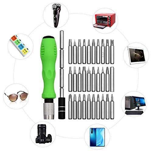 32-in-1 Small Screwdriver Set with Case, Mini Magnetic Screwdriver Sets Contain 30 Bits including Slotted, Phillips, Torx, U, Y, Hex Socket, Pentalobe, Multi-Function Precision Screwdriver set