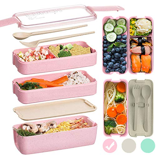 Edtsy Bento box for kids and adults - Leakproof lunchbox with utensils, dividers - Lunch Solution Offers Durable, Leak-Proof, On-the-Go Meal and Snack Packing
